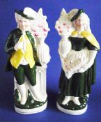 Unusual Pair of Victorian Flatback Staffordshire Pottery Figures of a Gardener and Companion c1890